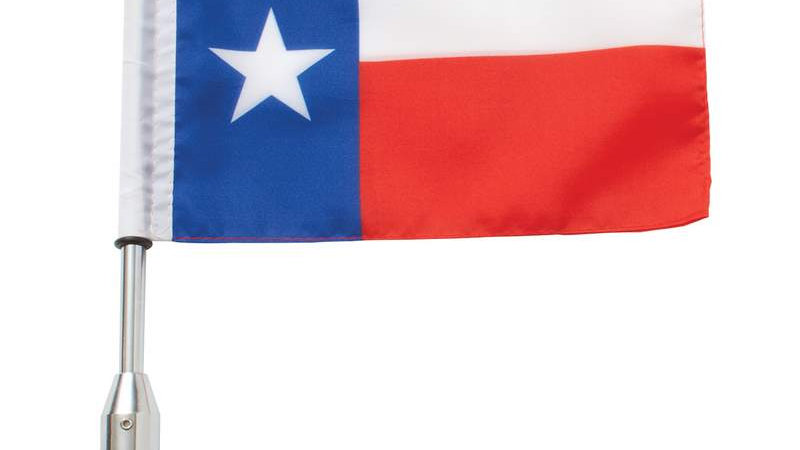 Diamond Plate 3pc Motorcycle Flagpole Mount with Texas and USA Flag