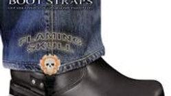 Boot Straps - Flaming Skull