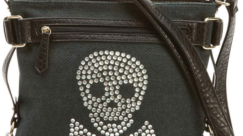 Fleur de Lune Handbag with Rhinestone Skull