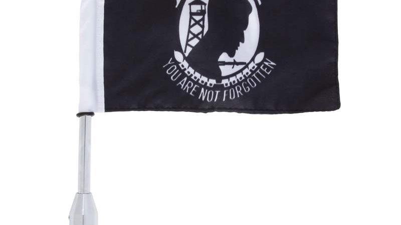 Diamond Plate Motorcycle Flagpole Mount and POW/MIA Flag