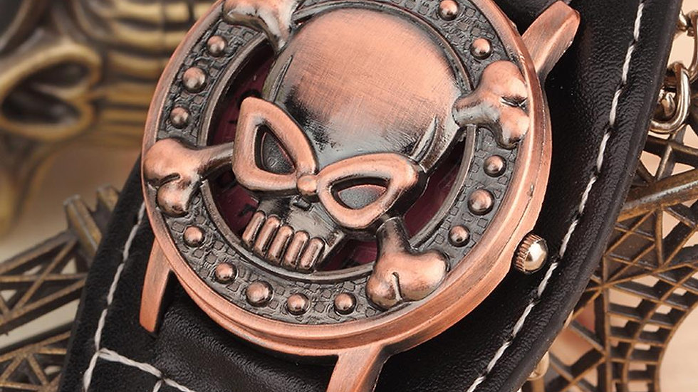 Mens Quartx Watch with Skull cover