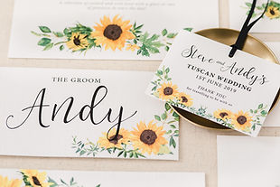 Sunflowers Wedding Stationery Place Names