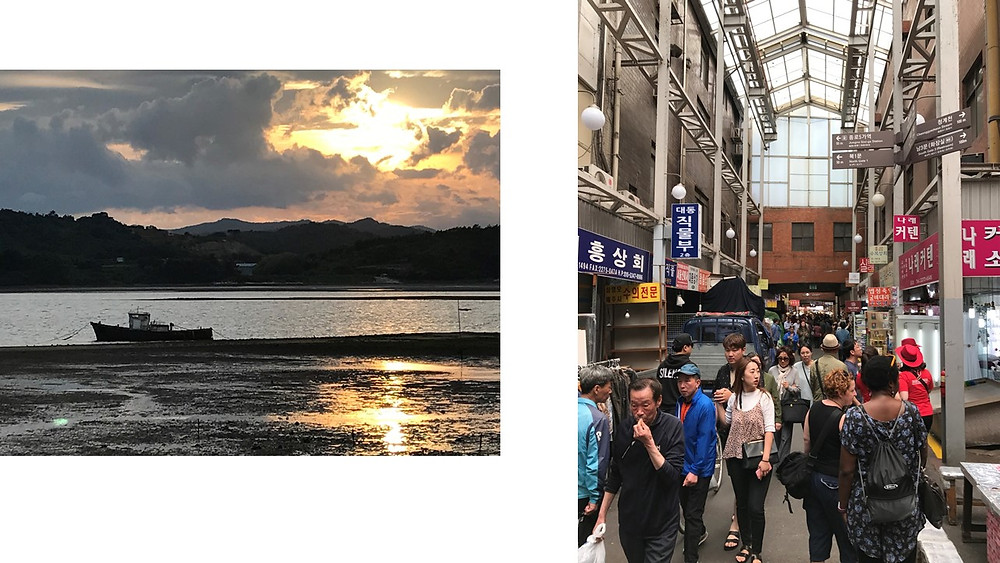 Sacheon Coastal Road and a market in Seoul