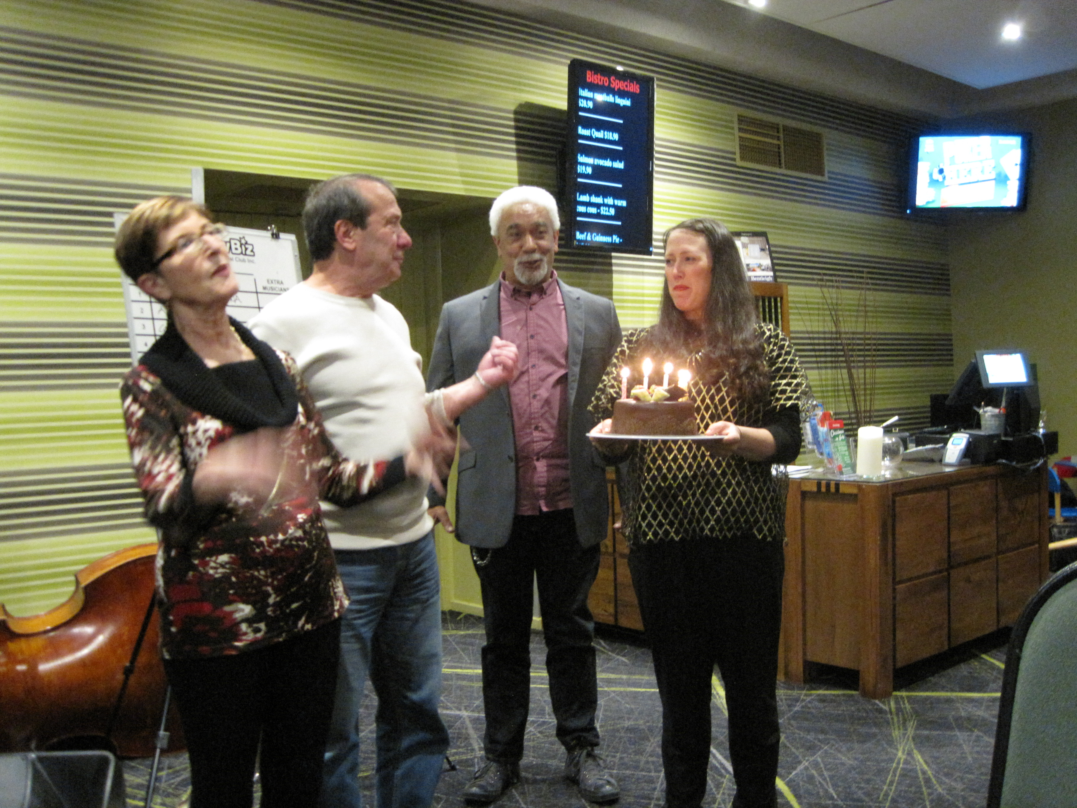 June Birthdays - Jan, Franco, Brian with honorory Cake Mistress Fem