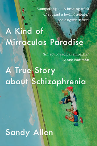 Image of paperback cover for A KIND OF MIRRACULAS PARADISE by Sandy Allen, showing a family picnicing on a green field, at a sideways angle (painting by William Kurelek)