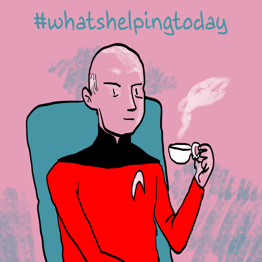 An illustration by Annie Mok of Captain Picard from Star Trek: The Next Generation with a cup of Earl Grey, hot