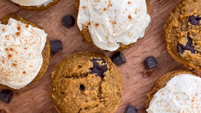Pumpkin Chocolate Chip Muffins with Cream Cheese Frosting