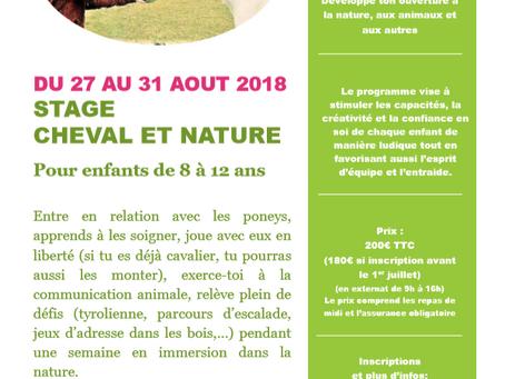 Stage pour enfants du 27 au 31 août 2018