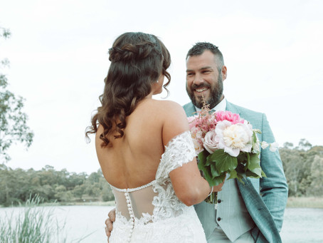 A springtime wedding by the water