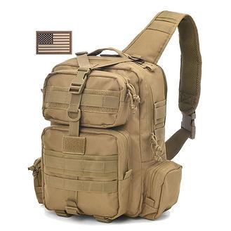 Tan Military Sling Bag Front R side 71Je