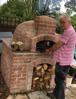 Wood fired oven in garden