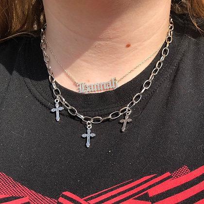 Triple Gothic Cross Chain