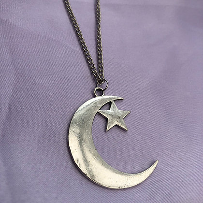 Large Crescent Moon and Star Necklace