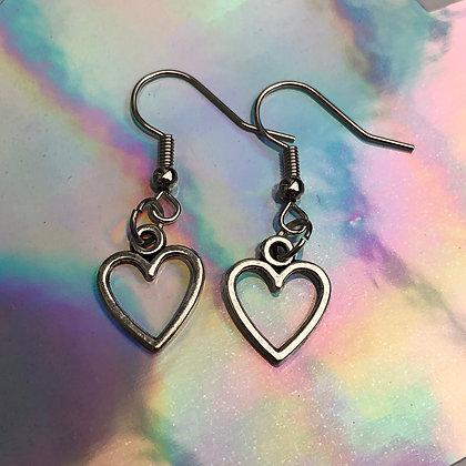 Love Heart Platinum Earrings