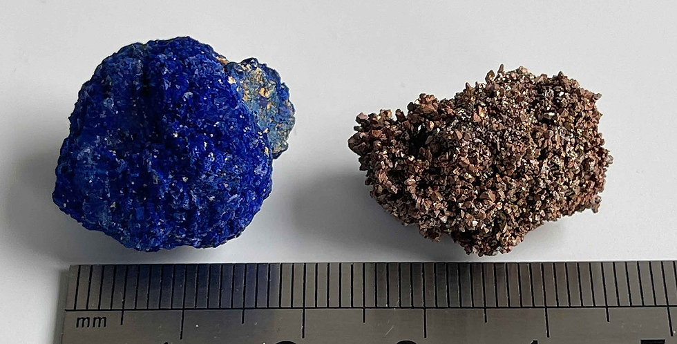 Ged. Kupfer / Kugelazurit – Block 1 -1 Rubtsovskiy Mine, Sibirien, Russland