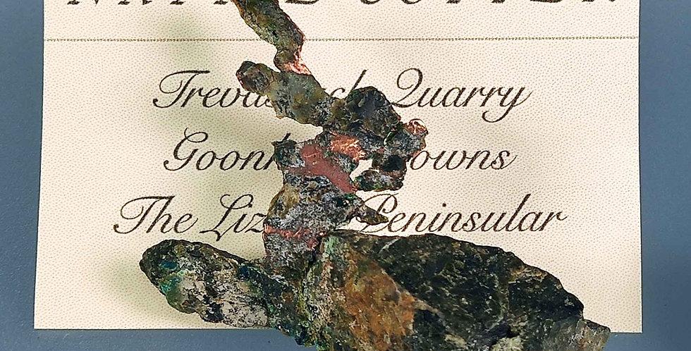 Gediegen Kupfer -Trevassack Quarry, Lizard-Halbinsel, Cornwall, Großbritannien