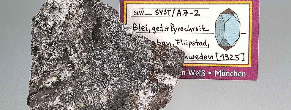 Gediegen Blei, Hydrocerussit, Pyrochroit - Långban, Värmland, Schweden