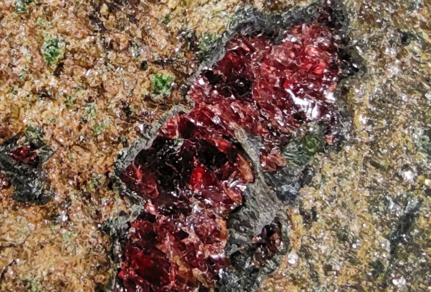 Pyrop, Pargasit in Granatperidotit - Alpe Arami, Gorduno, Tessin, Schweiz