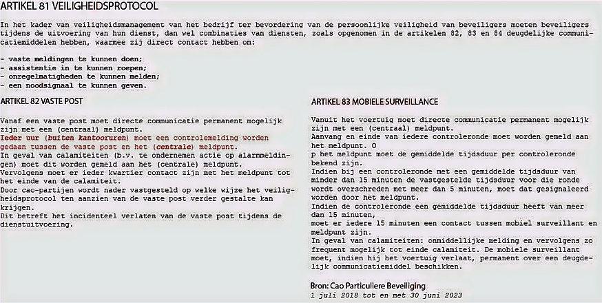 Uursmelding voor beveiligers Veiligheidsprotocol art 81 CAO particuliere beveiliging
