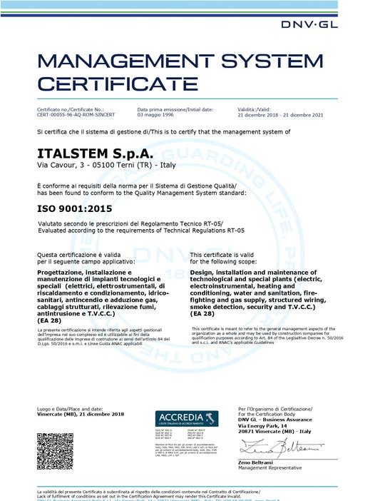 UNI EN ISO 9001:2015 - QUALITÀ -