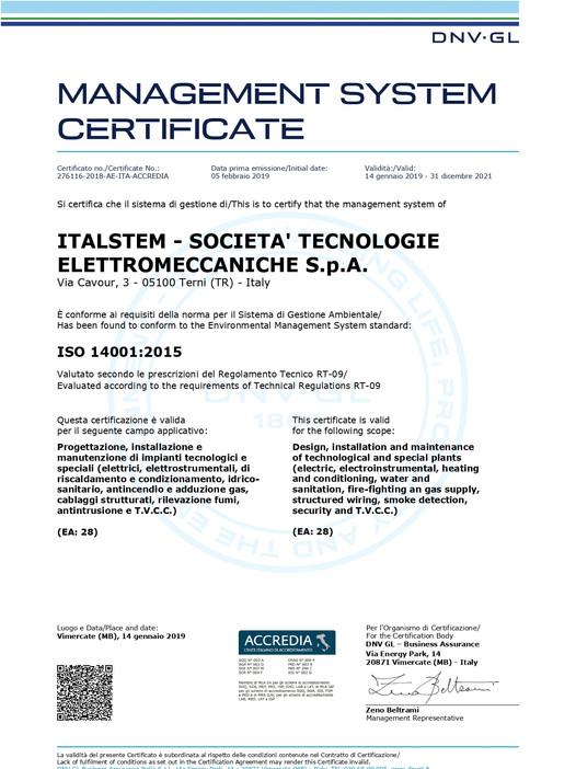 UNI EN ISO 14001:2015 - AMBIENTE -