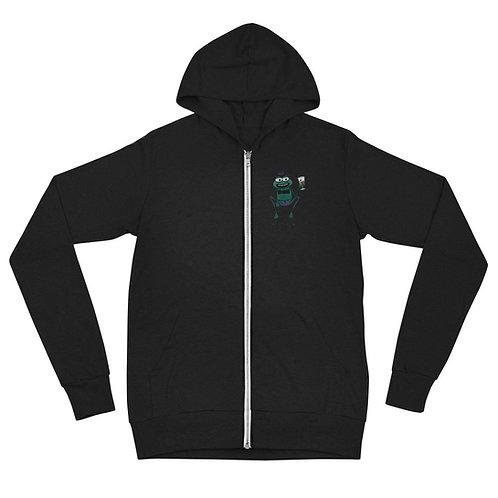 Hops McCan front / In Hops back Unisex zip hoodie