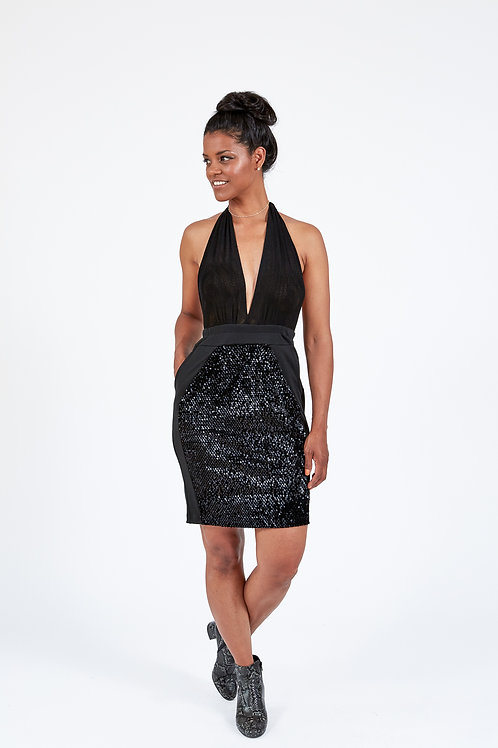 Sequinned Halter Dress