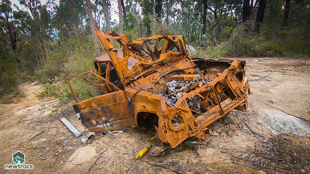 Rusted out GQ NIssan Patrol on Robertsons Creek Fireline Track