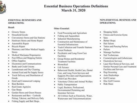 Maine Essential and Non-Essential Businesses