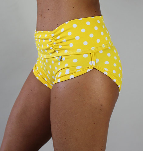YELLOW POLKA MINI SHORTS