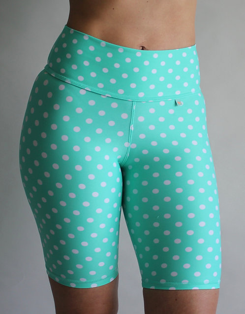 TEAL POLKA BIKE SHORTS