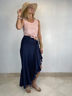 navy seaside maxi wrap skirt