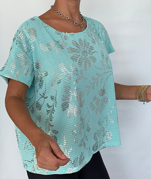 TURQUOISE  FOIL TOP
