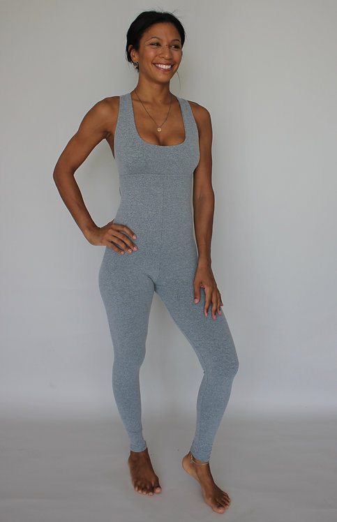 GRAY & PINK TRADITIONAL YOGA JUMPSUIT