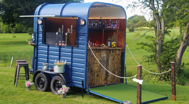 Horsebox bar with hatch open and ramp down
