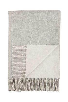 JOHNSTONS OF ELGIN - REVERSIBLE CASHMERE BED THROW | SILVER