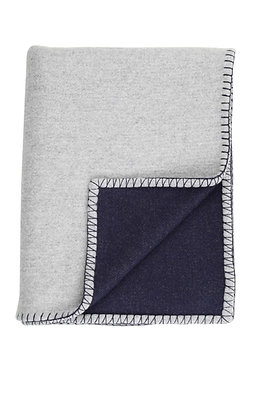 JOHNSTONS OF ELGIN - REVERSIBLE BLANKET STITCHED THROW | NAVY