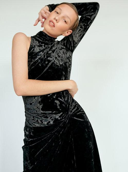 Бархатное платье с узлом