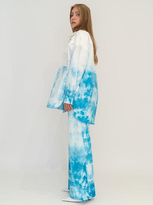 Рубашка с принтом tie-dye и плетеной кокеткой