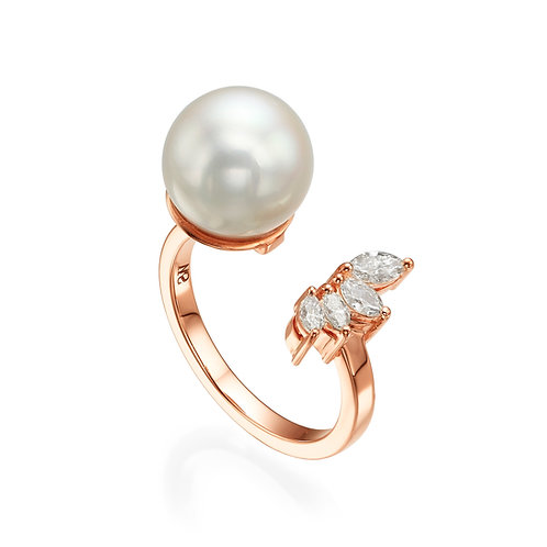 Pearl & Marquise shape Diamonds Open Ring