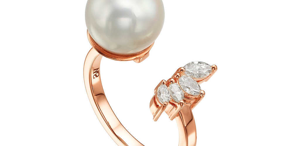 Pearl & Marquise Open Ring