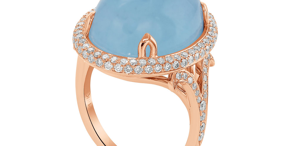 Aquamarine  and Diamonds Cocktail Ring