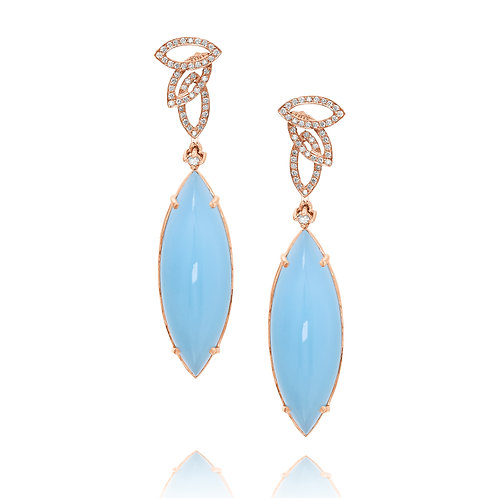 Aquamarine and Diamonds Leaves Earring