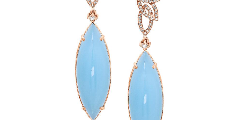 Aquamarine and Diamonds Leaves Earring