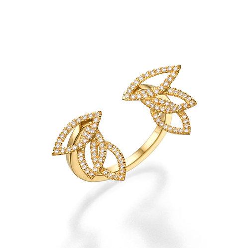 Diamond Leaves Open Ring