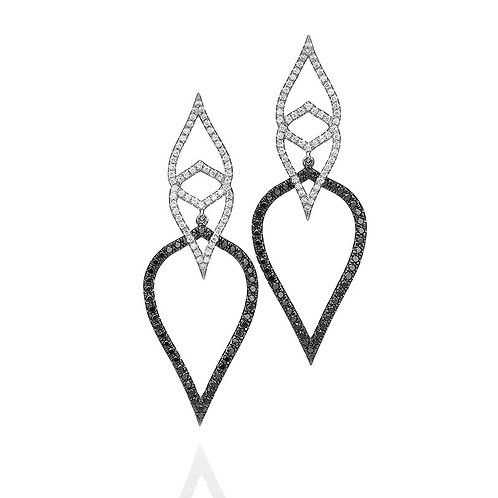 black and White Diamonds Leaves Earrings