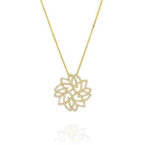 Round Diamonds Leaf Pendant