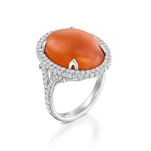Carnelian and Diamonds Cocktail Ring