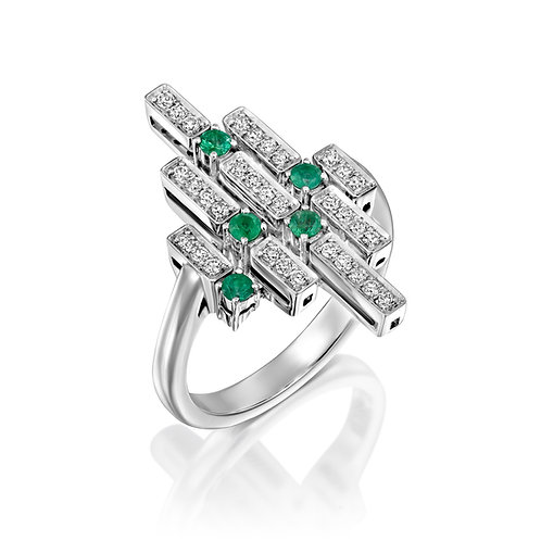 Geometric Diamonds and Emeralds Cocktail Ring