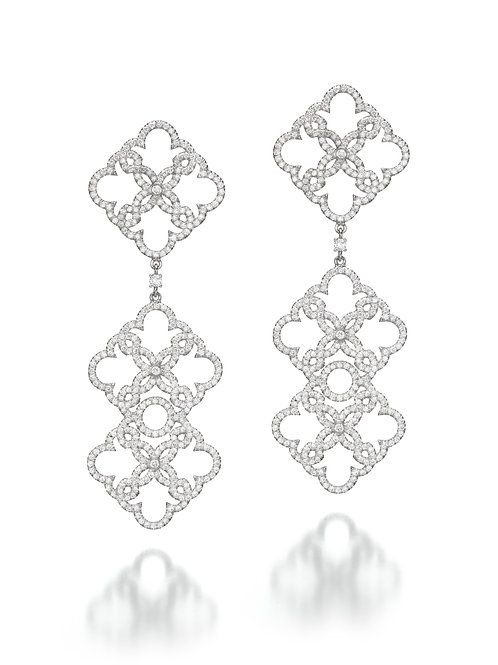 Long Diamonds Lace Earrings